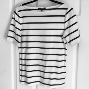 Lauren Top Black and White stripe Size L